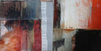 3. Flag Diptych, Oil on Paper, 26 x 60
